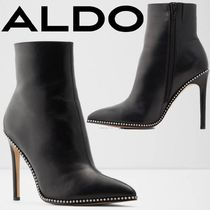 ALDO Blended Fabrics Studded Plain Leather Pin Heels Party Style