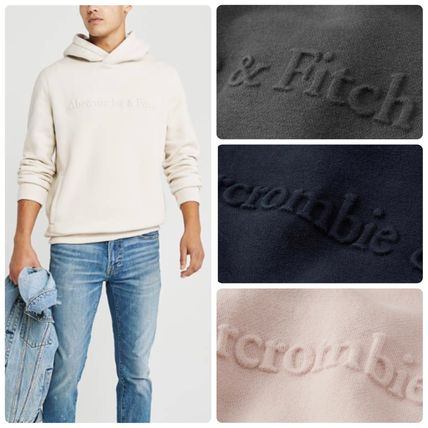 Unisex Street Style Long Sleeves Plain Cotton Hoodies