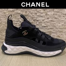 CHANEL Platform Casual Style Blended Fabrics Bi-color