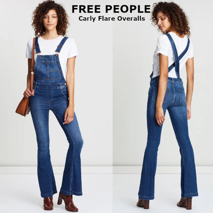 Dungarees Casual Style Flared Plain Long Dresses