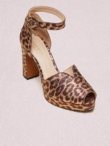 kate spade new york Leopard Patterns Open Toe Leather Elegant Style Chunky Heels