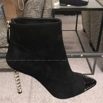 CHANEL Plain Toe Suede Blended Fabrics Pin Heels Party Style