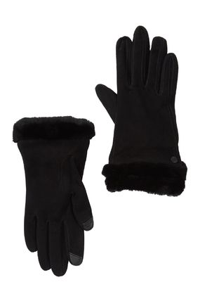 UGG Australia Wool Cashmere Suede Plain Shearling Touchscreen Gloves