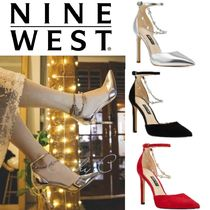 Nine West Suede Blended Fabrics Plain Leather Pin Heels Party Style