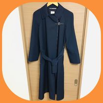HERMES Stand Collar Coats Plain Long Elegant Style Coats