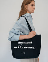 depound Casual Style Unisex Street Style A4 Plain Logo Totes