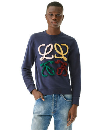 LOEWE Sweatshirts Crew Neck Sweat Long Sleeves Cotton Logo Luxury Sweatshirts 4