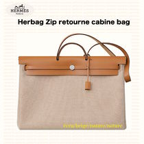 HERMES Canvas Leather Totes