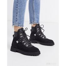 & Other Stories Platform Plain Toe Mountain Boots Round Toe Casual Style