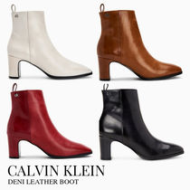 Calvin Klein Square Toe Casual Style Plain Leather Block Heels