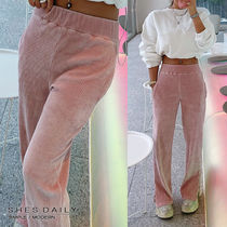 Casual Style Corduroy Plain Long Pants