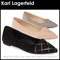 Karl Lagerfeld Suede Plain With Jewels Elegant Style Pointed Toe Shoes