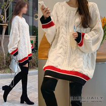 Crew Neck Cable Knit Casual Style U-Neck Bi-color