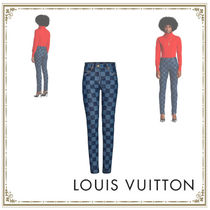 Louis Vuitton Gingham Casual Style Denim Long Party Style Office Style