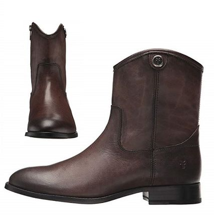 Cowboy Boots Round Toe Casual Style Studded Plain Leather