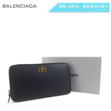 BALENCIAGA Unisex Calfskin Long Wallet  Logo Long Wallets