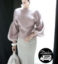 Casual Style Wool Plain Angola Elegant Style Puff Sleeves