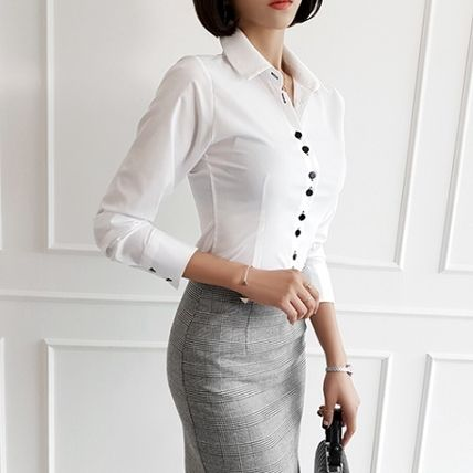 Long Sleeves Plain Medium Office Style Shirts & Blouses
