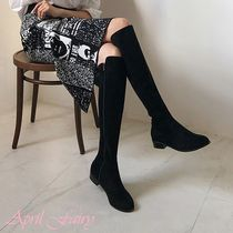 Plain Toe Faux Fur Chunky Heels Over-the-Knee Boots