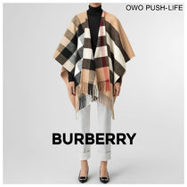 Burberry Other Check Patterns Wool Cashmere Fringes Oversized