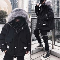 Short Unisex Faux Fur Street Style Plain Windbreaker MA-1