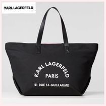 Karl Lagerfeld Casual Style Nylon A4 Plain Leather Totes