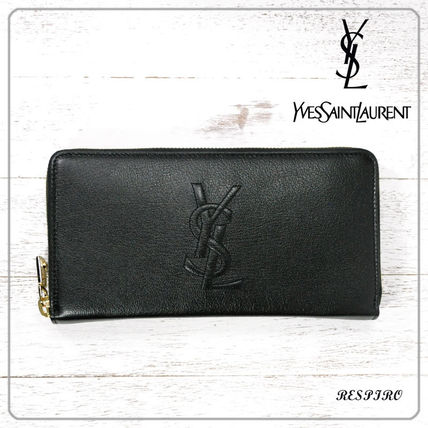 Saint Laurent Monogram Unisex Leather Long Wallets