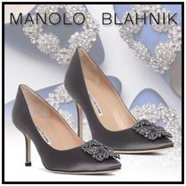 Manolo Blahnik Hangisi Blended Fabrics Plain Pin Heels Party Style With Jewels