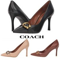 Coach Casual Style Plain Leather Pin Heels Office Style