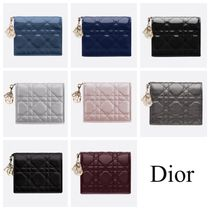 Christian Dior LADY DIOR Leather Folding Wallets