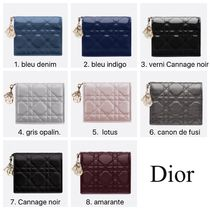 Christian Dior LADY DIOR Leather Folding Wallet Folding Wallets