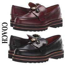 Coach Platform Round Toe Casual Style Plain Leather