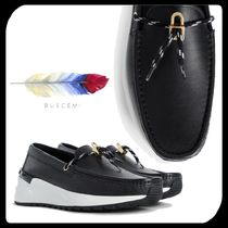 BUSCEMI Stripes Driving Shoes Blended Fabrics Street Style Bi-color