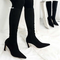 Casual Style Faux Fur Plain Pin Heels High Heel Boots