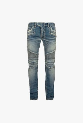 Denim Plain Cotton Logo Skinny Jeans