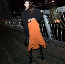 DINT Pencil Skirts Flared Skirts Casual Style Maxi Plain Long