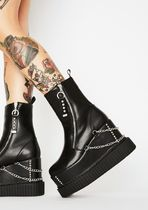 DOLLS KILL Round Toe Casual Style Faux Fur Chain Plain Wedge Boots