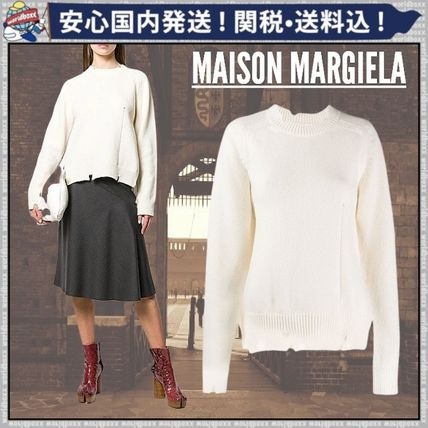 Crew Neck Short Casual Style Wool Long Sleeves Plain Cropped