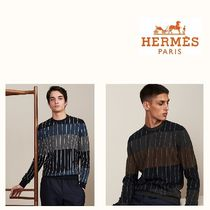 HERMES Crew Neck Stripes Cashmere Sweaters