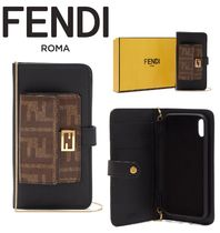 FENDI Monogram Unisex Chain Leather Smart Phone Cases