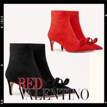 RED VALENTINO Suede Plain Pin Heels Elegant Style Mid Heel Boots