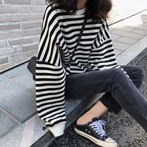 Short Stripes Street Style Plain Cropped