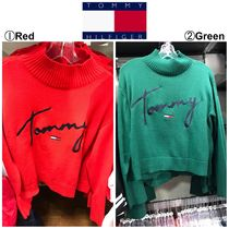 Tommy Hilfiger Cable Knit Casual Style Street Style Long Sleeves Plain