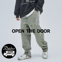 OPEN THE DOOR Unisex Street Style Cotton Oversized Pants