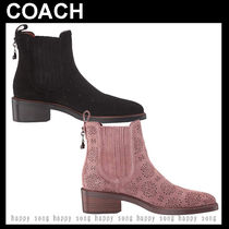 Coach Flower Patterns Round Toe Casual Style Plain Leather