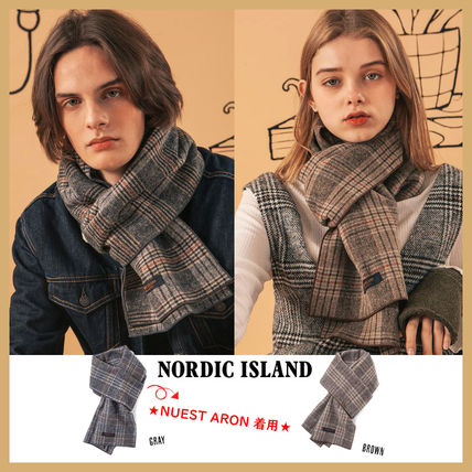 Other Check Patterns Unisex Wool Street Style Logo Scarves
