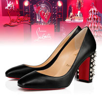 Christian Louboutin Casual Style Studded Street Style Block Heels Elegant Style