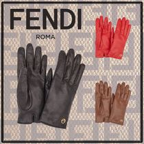 FENDI Cashmere Leather Leather & Faux Leather Gloves