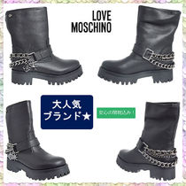 Love Moschino Round Toe Casual Style Street Style Chain Plain Leather