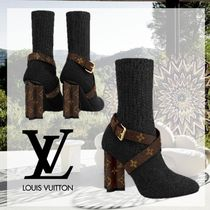 Louis Vuitton MONOGRAM Monogram Plain Toe Blended Fabrics Plain Block Heels